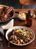 Pork rib, black lentil and white bean stew