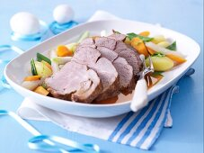 Roast lamb with spring vegetables & new potatoes