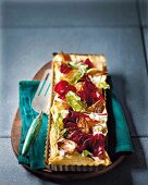 Low fat beetroot tart with caramelised onions