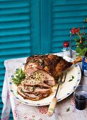 Herby rice-stuffed leg of lamb