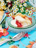 Three-fruit strudel with custard
