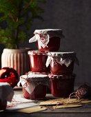 Jars of homemade tomato chutney
