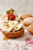 A Camembert roll with hazelnuts and honey