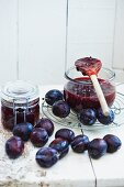Plum jam and fresh plums
