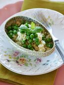 Pearl couscous with peas