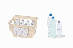 An illustration of glass and plastic deposit bottles