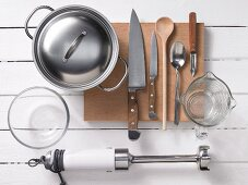 Assorted kitchen utensils for preparing baby food