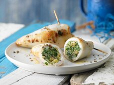 Grilled calamari tubes with a herb stuffing