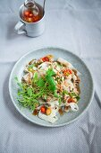 Vegan rice noodles with tofu bolognese, chilli and coriander