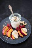 Vegan cashew cream with nectarines
