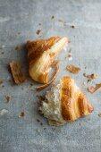 A broken butter croissant
