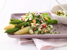 Asparagus with egg vinaigrette and potatoes