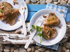 Grilled oyster mushrooms with walnuts