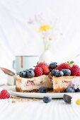 Fresh berry cheesecake, sliced