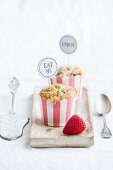 Strawberry and coconut muffins in paper cases