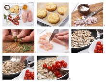 How to prepare chopped chicken with hash browns