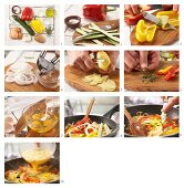 How to prepare a potato tortilla with peppers and courgette