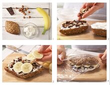 How to prepare a banana roll with chocolate and nuts