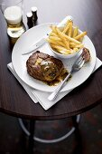 Steak with chips and Café de Paris sauce