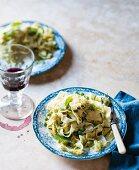 Tagliatelle with pesto and peas