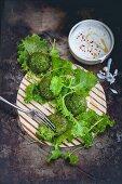 Kale falafel with a yoghurt dip