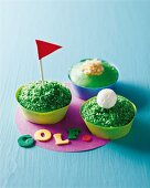 Green golf ball cupcakes