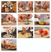 How to prepare scrambled egg with mushrooms served with flatbread and tomatoes