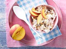 Bircher muesli with peach slices