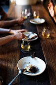 blacked pears, vanilla mascarpone and candied hazelnuts