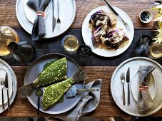 Flounder with wakame and lemon butter, Roast red cabbage with bonito butter