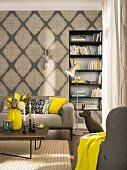 Elegantes Wohnzimmer mit ornamentaler Vliestapete in Beigetönen und senfgelben Farbakzenten