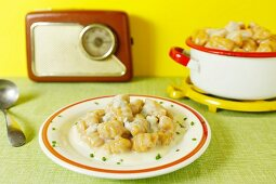 Gnocchis in blue cheese sauce