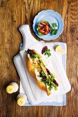 Baguette with chicken breast, beetroot and feta salad