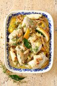 Chicken braised with leeks, apples and chanterelle mushrooms