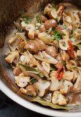 Marinierte Champignons a la greque mit Zwiebeln und Chili
