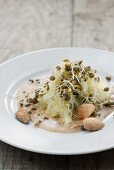 Sauerkraut salad with almond sauce
