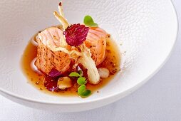 Norwegian salmon with shiso in tea sauce