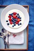 Yoghurt with blueberries, raspberries and strawberries
