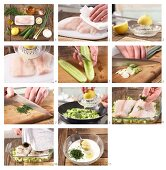 How to prepare steamed fillet of haddock on a bed of cucumber with dill sauce
