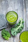 Curly kale smoothies in glasses