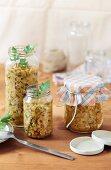 Duxelles in glass jars