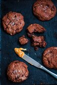 Chocolate cookies with caramel filling and sea salt