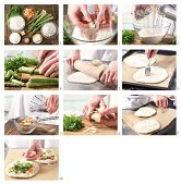 How to prepare pizza with green asparagus and crayfish
