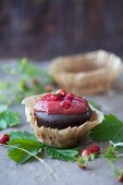 Chocolate cake with strawberry jam