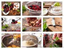 Making berry dessert with honey vanilla foam and biscuit crumbs