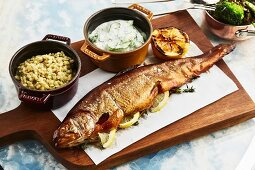 Smoked trout with barley and cucumber salad