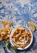 Cannellini hummus with physalis sauce and tortillachi
