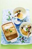 English pudding with chutney, vanilla and custard
