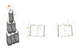 Layout mit einem Stapel Bücher und aufgeschlagenen Büchern vor weißem Hintergrund