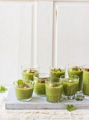 Green gazpacho with cucumber, celery, green peppers, red chilli peppers and coriander leaves